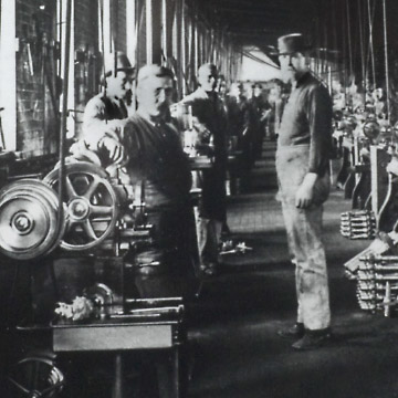 Black and White Picture of a Factory with Workers